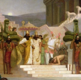 Herbert Gustave Schmalz - The Daughters of Judah in Babylon oil on canvas detail of 35 - (MeisterDrucke-357602)